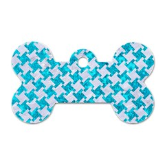 Houndstooth2 White Marble & Turquoise Marble Dog Tag Bone (two Sides) by trendistuff