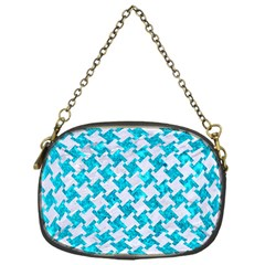 Houndstooth2 White Marble & Turquoise Marble Chain Purses (one Side)  by trendistuff