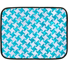 Houndstooth2 White Marble & Turquoise Marble Double Sided Fleece Blanket (mini)  by trendistuff