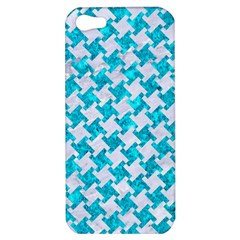 Houndstooth2 White Marble & Turquoise Marble Apple Iphone 5 Hardshell Case by trendistuff