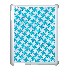 Houndstooth2 White Marble & Turquoise Marble Apple Ipad 3/4 Case (white) by trendistuff