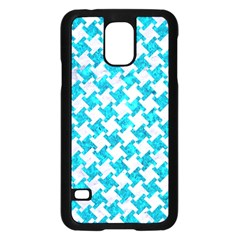 Houndstooth2 White Marble & Turquoise Marble Samsung Galaxy S5 Case (black) by trendistuff