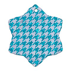 Houndstooth1 White Marble & Turquoise Marble Snowflake Ornament (two Sides) by trendistuff