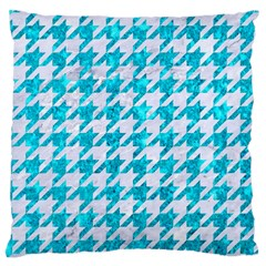 Houndstooth1 White Marble & Turquoise Marble Large Cushion Case (two Sides) by trendistuff