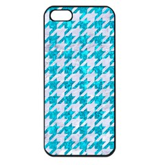 Houndstooth1 White Marble & Turquoise Marble Apple Iphone 5 Seamless Case (black) by trendistuff