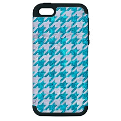 Houndstooth1 White Marble & Turquoise Marble Apple Iphone 5 Hardshell Case (pc+silicone) by trendistuff