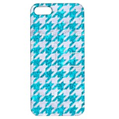 Houndstooth1 White Marble & Turquoise Marble Apple Iphone 5 Hardshell Case With Stand by trendistuff