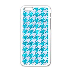 Houndstooth1 White Marble & Turquoise Marble Apple Iphone 6/6s White Enamel Case by trendistuff