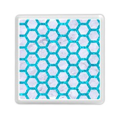 Hexagon2 White Marble & Turquoise Marble (r) Memory Card Reader (square)  by trendistuff