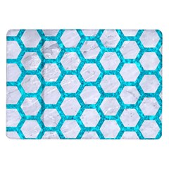 Hexagon2 White Marble & Turquoise Marble (r) Samsung Galaxy Tab 10 1  P7500 Flip Case by trendistuff