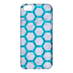 Hexagon2 White Marble & Turquoise Marble (r) Apple Iphone 5c Hardshell Case by trendistuff