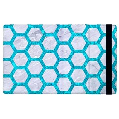 Hexagon2 White Marble & Turquoise Marble (r) Apple Ipad Pro 9 7   Flip Case by trendistuff