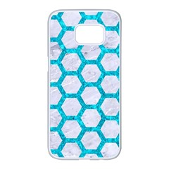 Hexagon2 White Marble & Turquoise Marble (r) Samsung Galaxy S7 Edge White Seamless Case