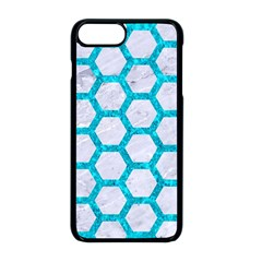 Hexagon2 White Marble & Turquoise Marble (r) Apple Iphone 8 Plus Seamless Case (black) by trendistuff