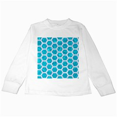 Hexagon2 White Marble & Turquoise Marble Kids Long Sleeve T Shirts