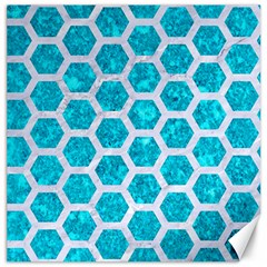 Hexagon2 White Marble & Turquoise Marble Canvas 12  X 12   by trendistuff