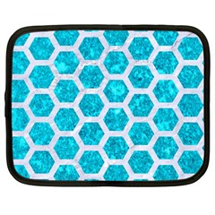 Hexagon2 White Marble & Turquoise Marble Netbook Case (large) by trendistuff