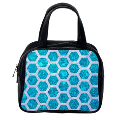 Hexagon2 White Marble & Turquoise Marble Classic Handbags (one Side) by trendistuff