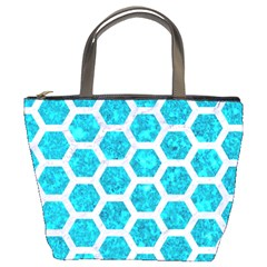 Hexagon2 White Marble & Turquoise Marble Bucket Bags by trendistuff