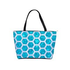 Hexagon2 White Marble & Turquoise Marble Shoulder Handbags by trendistuff