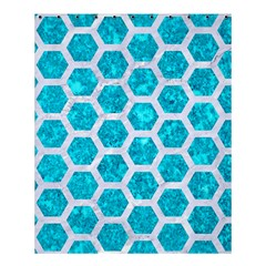 Hexagon2 White Marble & Turquoise Marble Shower Curtain 60  X 72  (medium)  by trendistuff