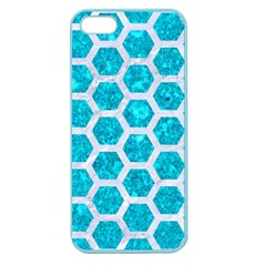 Hexagon2 White Marble & Turquoise Marble Apple Seamless Iphone 5 Case (color) by trendistuff
