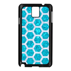Hexagon2 White Marble & Turquoise Marble Samsung Galaxy Note 3 N9005 Case (black) by trendistuff