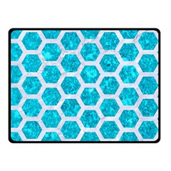 Hexagon2 White Marble & Turquoise Marble Double Sided Fleece Blanket (small)  by trendistuff