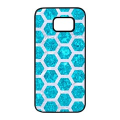 Hexagon2 White Marble & Turquoise Marble Samsung Galaxy S7 Edge Black Seamless Case by trendistuff