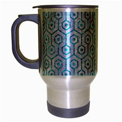 Hexagon1 White Marble & Turquoise Marble (r) Travel Mug (silver Gray) by trendistuff
