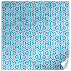 Hexagon1 White Marble & Turquoise Marble (r) Canvas 16  X 16   by trendistuff