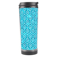 Hexagon1 White Marble & Turquoise Marble Travel Tumbler by trendistuff