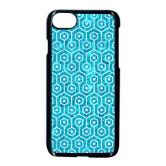 Hexagon1 White Marble & Turquoise Marble Apple Iphone 8 Seamless Case (black) by trendistuff