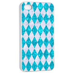 Diamond1 White Marble & Turquoise Marble Apple Iphone 4/4s Seamless Case (white) by trendistuff