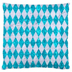 Diamond1 White Marble & Turquoise Marble Standard Flano Cushion Case (one Side) by trendistuff