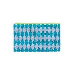 Diamond1 White Marble & Turquoise Marble Cosmetic Bag (xs) by trendistuff