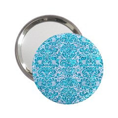 Damask2 White Marble & Turquoise Marble (r) 2 25  Handbag Mirrors by trendistuff