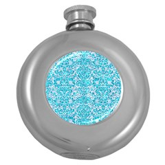 Damask2 White Marble & Turquoise Marble (r) Round Hip Flask (5 Oz) by trendistuff