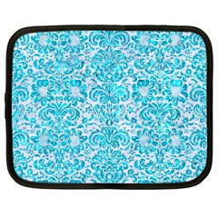 Damask2 White Marble & Turquoise Marble (r) Netbook Case (xl)
