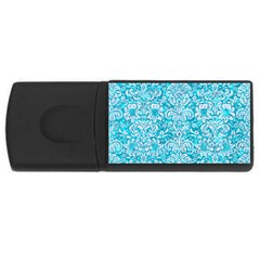 Damask2 White Marble & Turquoise Marble Rectangular Usb Flash Drive by trendistuff