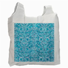 Damask2 White Marble & Turquoise Marble Recycle Bag (two Side)  by trendistuff