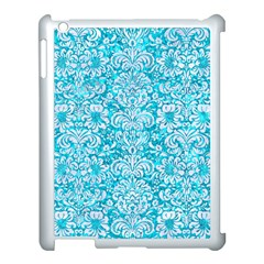 Damask2 White Marble & Turquoise Marble Apple Ipad 3/4 Case (white) by trendistuff