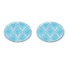 Damask1 White Marble & Turquoise Marble (r) Cufflinks (oval) by trendistuff