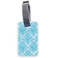 Damask1 White Marble & Turquoise Marble (r) Luggage Tags (one Side)  by trendistuff