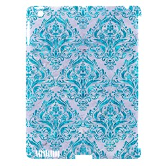 Damask1 White Marble & Turquoise Marble (r) Apple Ipad 3/4 Hardshell Case (compatible With Smart Cover) by trendistuff