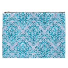 Damask1 White Marble & Turquoise Marble (r) Cosmetic Bag (xxl)  by trendistuff
