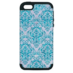 Damask1 White Marble & Turquoise Marble (r) Apple Iphone 5 Hardshell Case (pc+silicone) by trendistuff