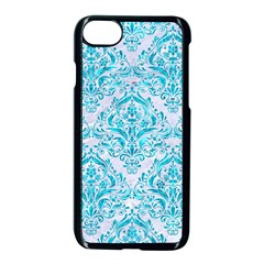 Damask1 White Marble & Turquoise Marble (r) Apple Iphone 7 Seamless Case (black) by trendistuff
