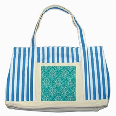 Damask1 White Marble & Turquoise Marble Striped Blue Tote Bag by trendistuff