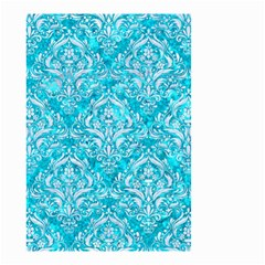 Damask1 White Marble & Turquoise Marble Small Garden Flag (two Sides) by trendistuff
